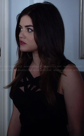 Aria's black and white striped dress, floral blazer and orange studded bag on Pretty Little Liars