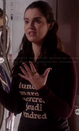 "Bay's ""lundi mardi mercredi jeudi vendredi"" tee on Switched at Birth"