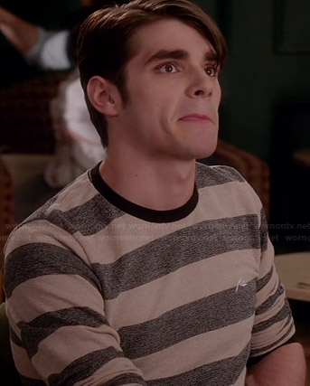 Campbell's beige and grey striped long sleeve shirt on Switched at Birth