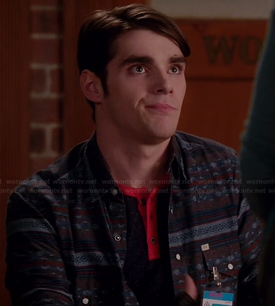 Campbell's navy patterned shirt on Switched at Birth