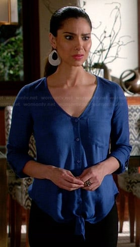 Carmen's blue tie front blouse on Devious Maids