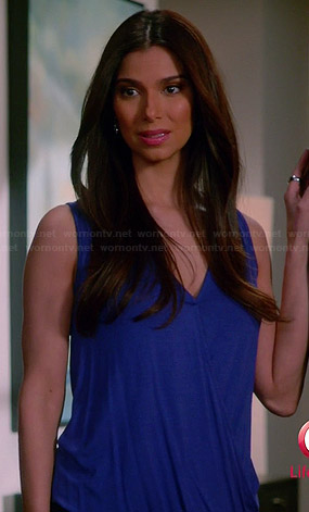 Carmen's blue cross front top on Devious Maids