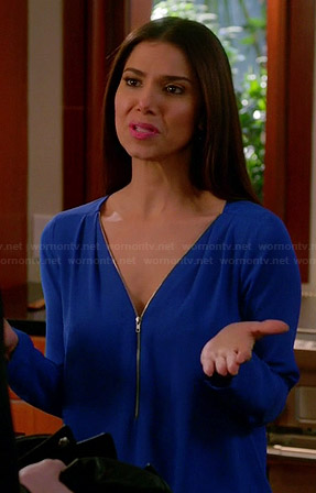 Carmen's blue zip front blouse on Devious Maids