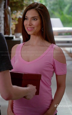 Carmen's pink cold shoulder tee on Devious Maids