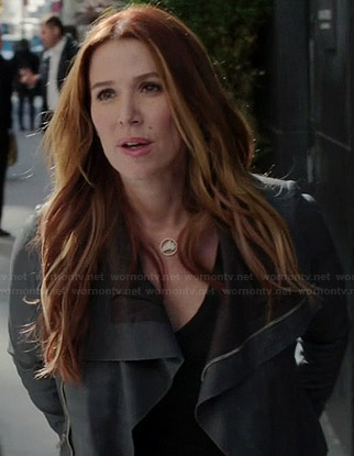 Carrie's grey shawl collar leather jacket on Unforgettable