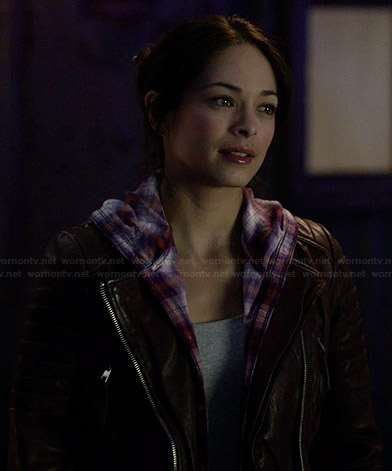 Cat's flanel hooded shirt and burgundy leather jacket on Beauty and the Beast