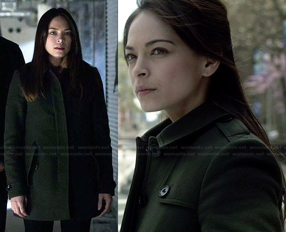 Cat's olive green coat on Beauty and the Beast
