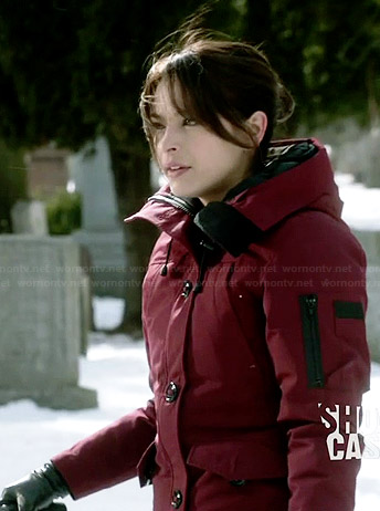 Cat's red parka on Beauty and the Beast