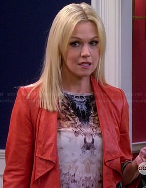 Charlie's mirrored graphic print top and red leather jacket on Mystery Girls
