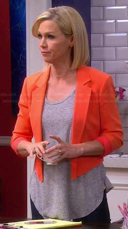 Charlie's orange cropped blazer on Mystery Girls