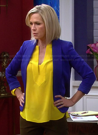 Charlie's yellow split neck blouse and blue blazer on Mystery Girls