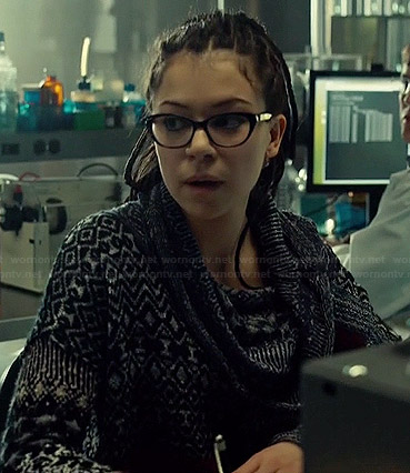 Cosima's mixed pattern cowl neck sweater on Orphan Black