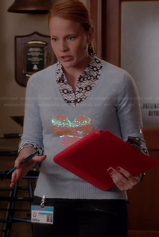 Daphne's blue sequinned heart sweater on Switched at Birth