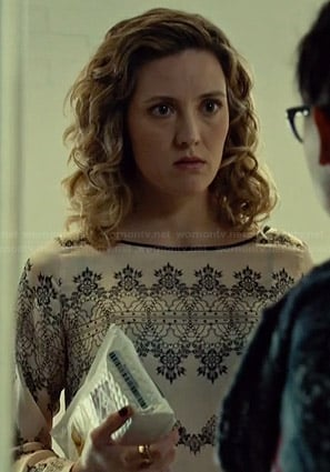 Delphine's blush pink lace printed top on Orphan Black