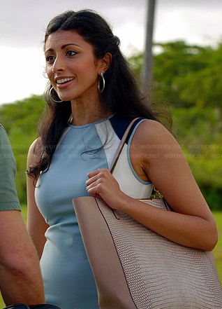 Divya's blue colorblock dress and beige textured tote on Royal Pains