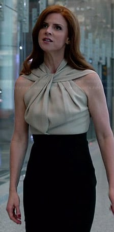 Donna's beige and black twist neck dress on Suits