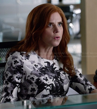 Donna's black and white floral dress on Suits