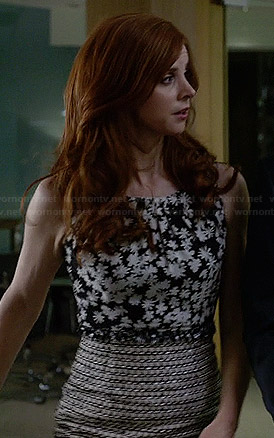 Donna's black and white floral top and tweed skirt on Suits