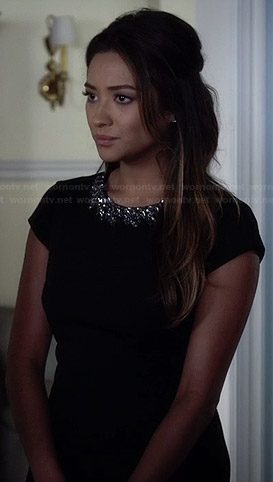 Emily's black embellished playsuit on Pretty Little Liars