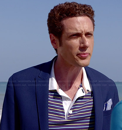 Evan's blue striped polo shirt on Royal Pains