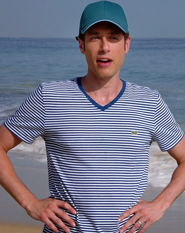Evan's blue striped v-neck tee on Royal Pains