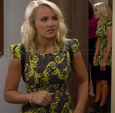 Gabi's yellow and black patterned cap-sleeve dress and studded ankle boots on Young and Hungry