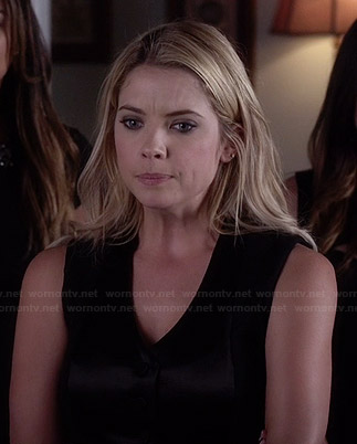 Mona's black off-shoulder top, red metallic striped skirt and black triangle necklace on Pretty Little Liars