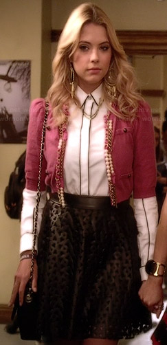 Hanna's laser cut leather skirt, white contrast trim shirt and pink cropped chain trimmed jacket on Pretty Little Liars