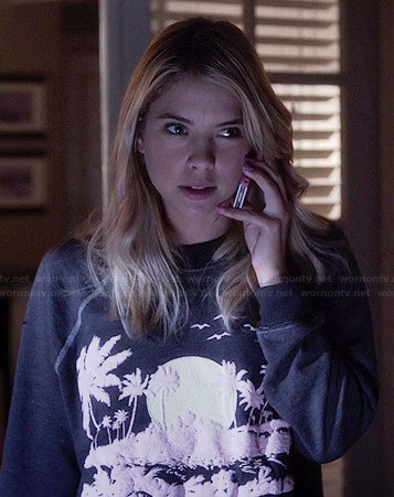 Hanna's palm tree sweatshirt on Pretty Little Liars