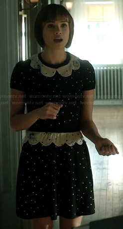 Heather's polka dot dress with scalloped collar on Beauty and the Beast