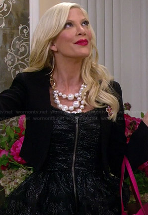 Holly's black lace zip-front dress on Mystery Girls