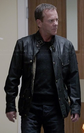WornOnTV: Jack's black jacket with buckle collar on 24 | Kiefer