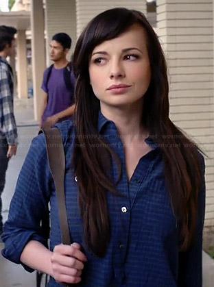 Jenna's blue striped shirt on Awkward
