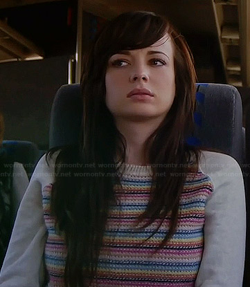 Jenna's cream sweater with multi colored stripes on Awkward