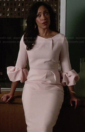 Jessica's pink ruffled sleeve dress on Suits