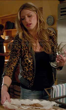 Josslyn's leopard print jacket with leather trim on Mistresses