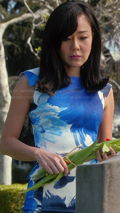 Karen's blue floral dress on Mistresses