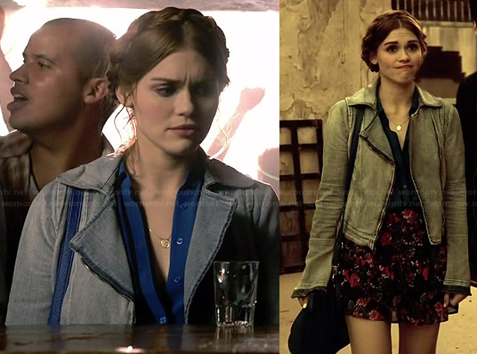 Lydia's blue contrast trim top, denim jacket and floral skirt on Teen Wolf