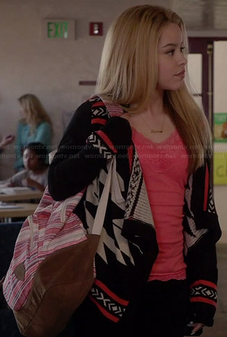 Mariana's black, white, and red tribal patterned cardigan on The Fosters