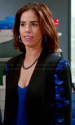 Marisol's black and blue printed blazer on Devious Maids