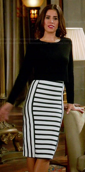 Marisol's black and white striped pencil skirt on Devious Maids
