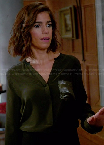 Marisol's olive green blouse with metallic pocket on Devious Maids