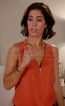 Marisol's orange zip front tank on Devious Maids