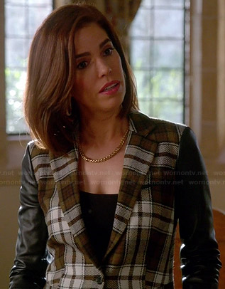 Marisol's tartan blazer with leather sleeves on Devious Maids