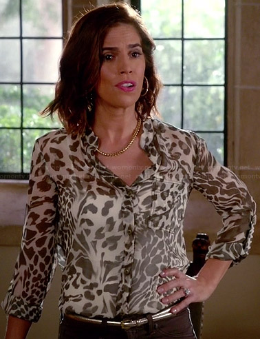 Marisol's white animal printed blouse on Devious Maids