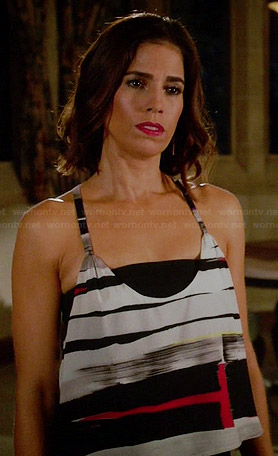 Marisol's brush stroke striped cropped cami on Devious Maids