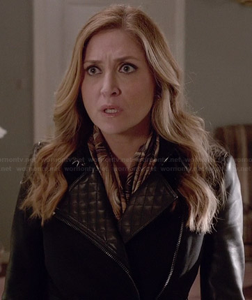 Maura's black coat with leather sleeves and quilted leather lapel on Rizzoli and Isles