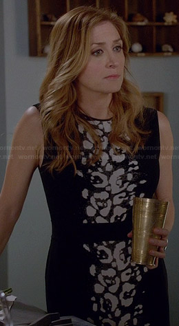 Maura's black and white leopard print dress on Rizzoli and Isles