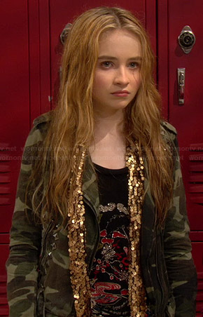 Maya's studded camo jacket and gold sequin scarf on Girl Meets World