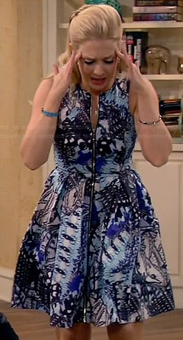 Mel's blue printed zip front dress on Melissa and Joey